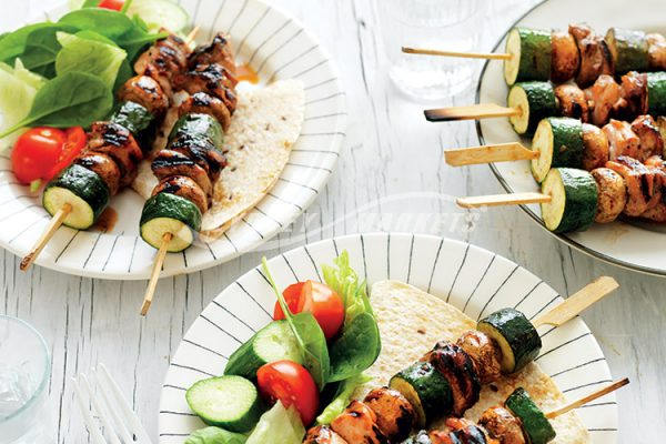 HONEY & SESAME ZUCCHINI, MUSHROOM & CHICKEN SKEWERS