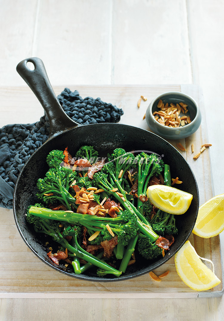 BROCCOLINI WITH PANCETTA & ALMONDS