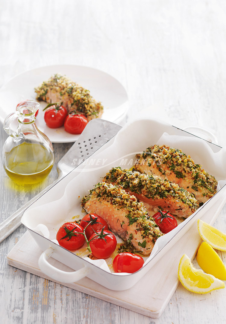 Herb crusted salmon with roasted russ tomatoes
