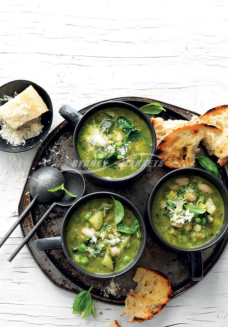 Green veggie minestrone-with-basil-and-parmesan-oil